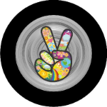 Hippie Peace Sign Tire Cover Grey on Black Vinyl
