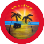 Life is a Beach Jeep Spare Tire Cover on Black Vinyl