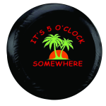 It's 5 O'clock Somewhere Malibu Tire Cover on Black Vinyl