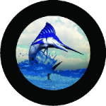 Marlin Fishing Tire Cover on Black Vinyl