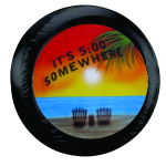 It's 5 O'clock Somewhere Palm Beach Spare Tire Cover on Black