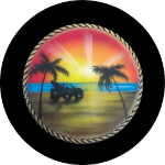 Rope Jeep on the Beach Tire Cover on Black Vinyl