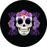 Sugar Skull Tire Cover on Black Vinyl