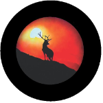 Sunset Buck Tire Cover on Black Vinyl