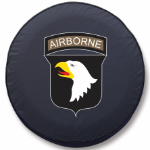 Army Airborne Tire Cover Logo on Black Vinyl