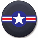 Roundel with Military Star Tire Cover on Black Vinyl