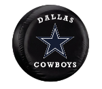 Dallas Tire Cover with Cowboys Logo  on Black Vinyl - Large