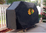 Chicago Grill Cover with Blackhawks Logo on Black Vinyl