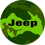 Jeep Camouflage Tire Cover on Black Vinyl