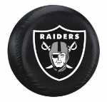 Oakland Tire Cover with Raiders Logo on Black Vinyl - Large