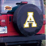 Appalachian State Tire Cover with Mountaineers Logo on Black