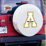 Appalachian State Tire Cover with Mountaineers Logo on White