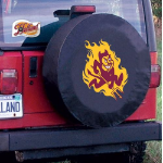 Arizona State Tire Cover with Sun Devils Logo on Black Vinyl