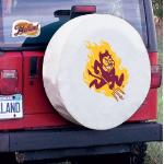 Arizona State Tire Cover with Sun Devils Logo on White Vinyl