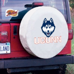 Connecticut Tire Cover with Huskies Logo on White Vinyl