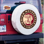 Indian Motorcycle Tire Cover on White Vinyl