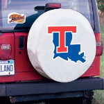 Louisiana Tech Tire Cover with Bulldogs Logo on White Vinyl