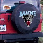 Maine Tire Cover with Black Bears Logo on Black Vinyl