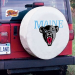 Maine Tire Cover with Black Bears Logo on White Vinyl