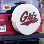Montana Tire Cover with Grizzlies Logo on White Vinyl