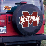 Mississippi State Tire Cover with Bulldogs Logo on Black Vinyl