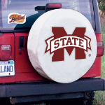 Mississippi State Tire Cover with Bulldogs Logo on White Vinyl
