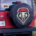 New Mexico Tire Cover with Lobos Logo on Black Vinyl