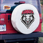 New Mexico Tire Cover with Lobos Logo on White Vinyl