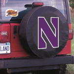 Northwestern Tire Cover with Wildcats Logo on Black Vinyl