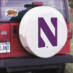 Northwestern Tire Cover with Wildcats Logo on White Vinyl