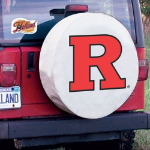 Rutgers Tire Cover with Scarlet Knights Logo on White Vinyl