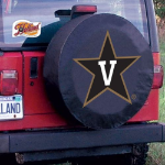 Vanderbilt Tire Cover with Commodores Logo on Black Vinyl