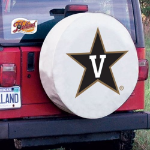 Vanderbilt Tire Cover with Commodores Logo on White Vinyl