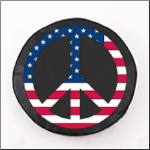 USA Peace Sign Tire Cover on Black Logo on Black Vinyl