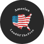America Land of the Free Tire Cover on Black Vinyl