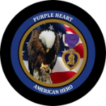 Purple Heart Jeep Spare Tire Cover on Black Vinyl
