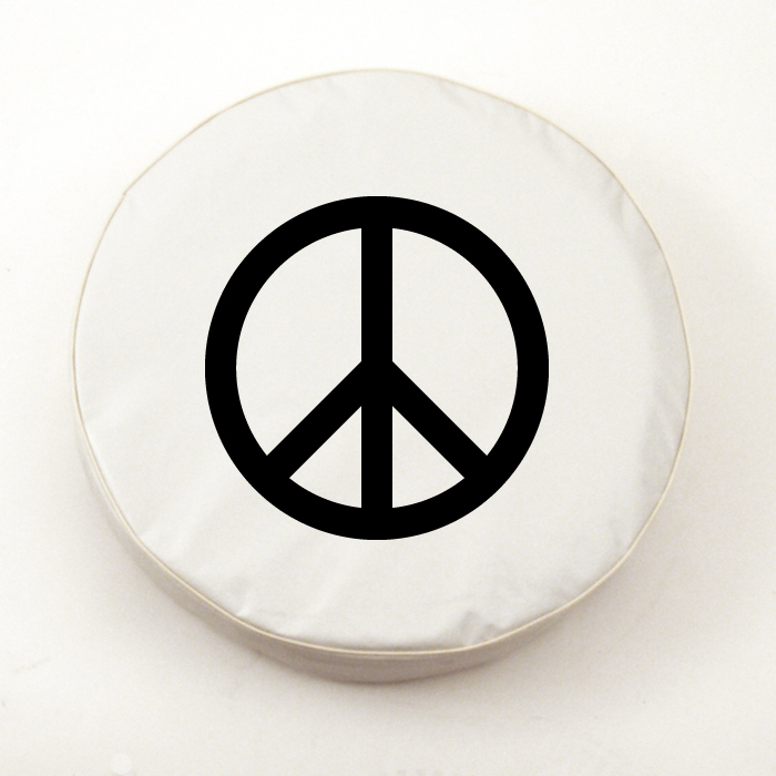 Peace Sign Tire Cover On White Vinyl