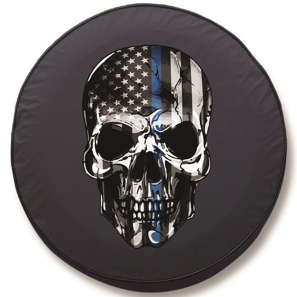 Back the Blue Skull Tire Cover | Back the Blue Spare Tire ...