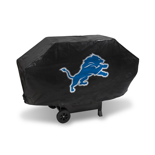 Detroit Grill Cover With Lions Logo On Black Vinyl Deluxe