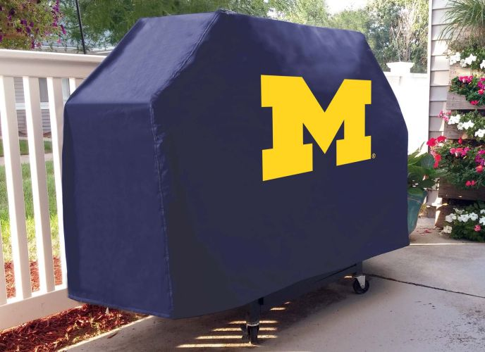 Michigan Grill Cover With Wolverines Logo On Blue Vinyl