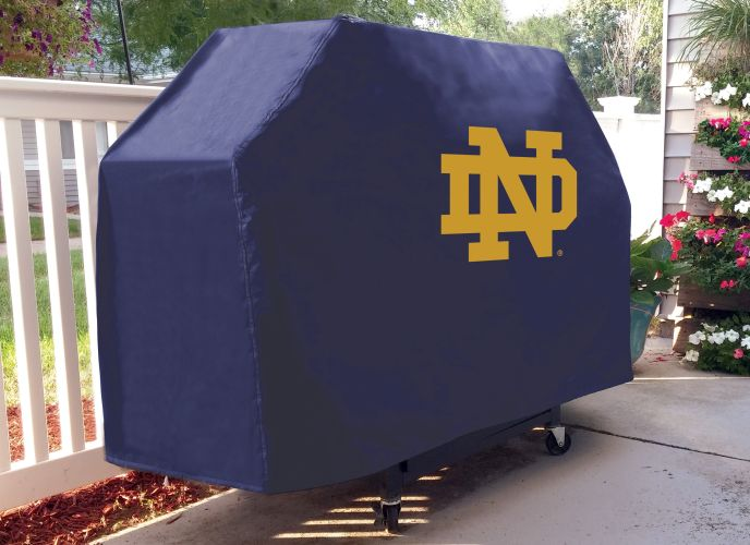 Notre Dame Grill Cover With Fighting Irish Nd Logo On Blue