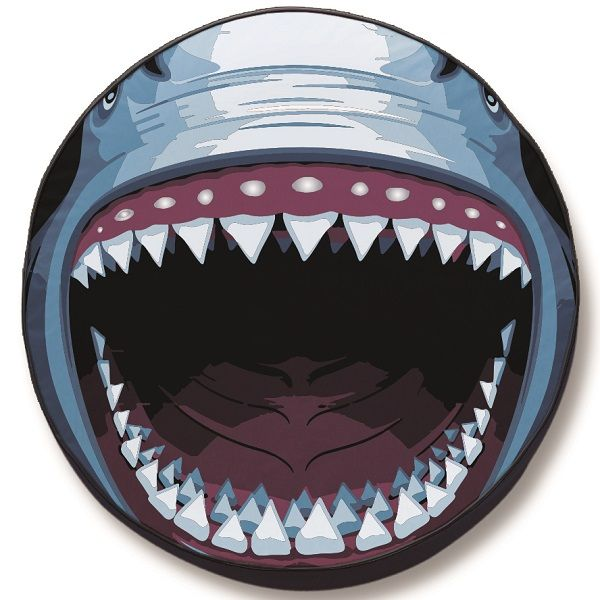 Great White Jaws Tire Cover On Black Vinyl