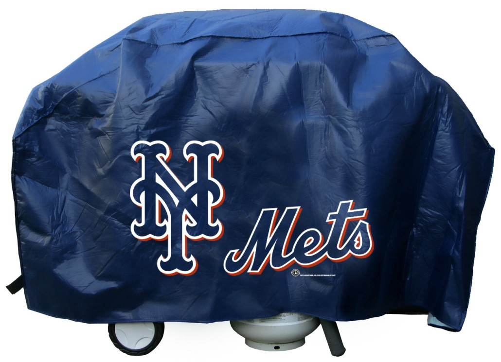 New York Grill Cover With Mets Logo On Black Vinyl Deluxe