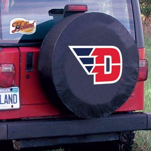 University Of Dayton Tire Cover W Flyers Logo On Black Vinyl