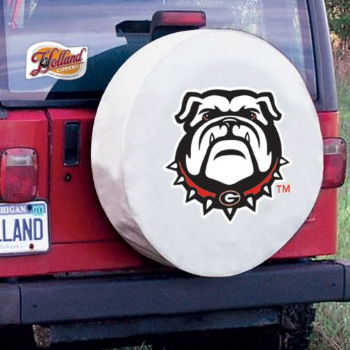 University Of Georgia Tire Cover W Bulldogs Logo White Vinyl