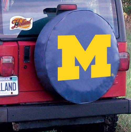 University Of Michigan Tire Cover Logo On Blue Vinyl