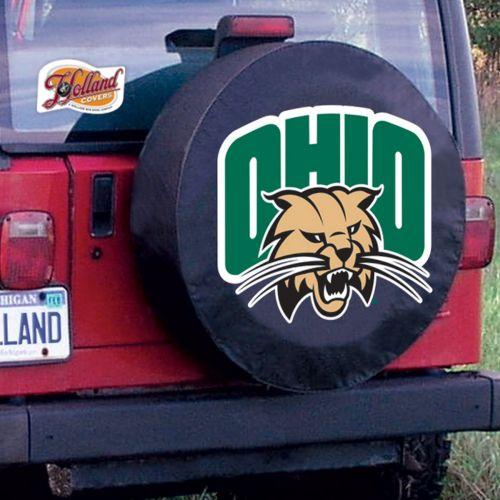 Ohio University Tire Cover W Bobcats Logo On Black Vinyl