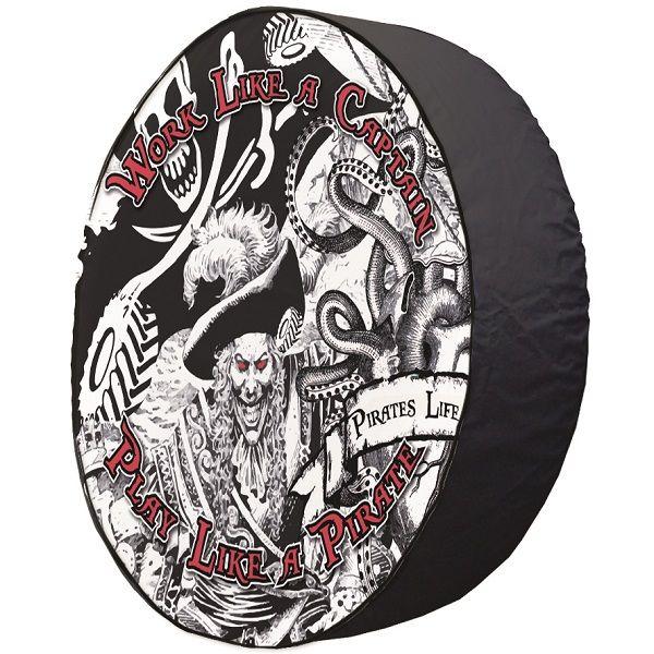 Work Like a Captain Tire Cover on Black Vinyl