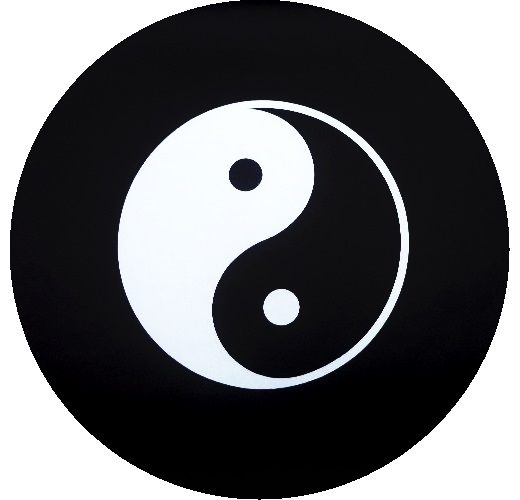 Yin Yang Tire Cover White Logo On Black Vinyl