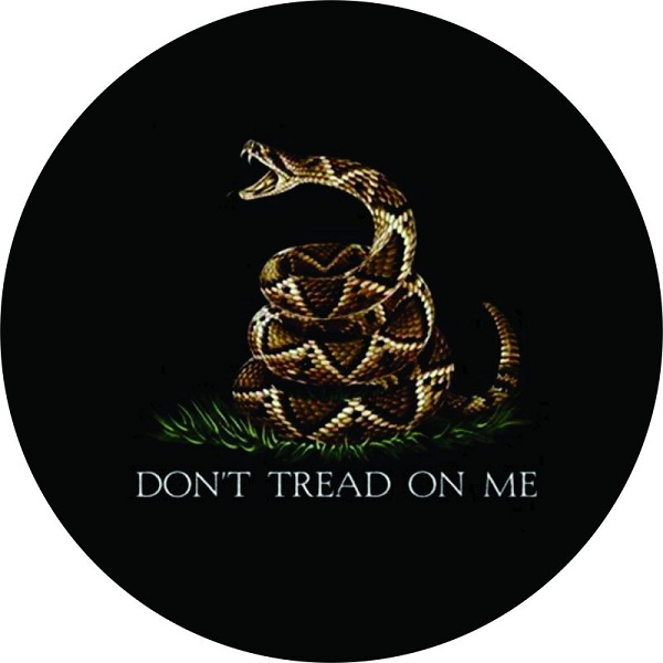 Don T Tread On Me Snake Spare Tire Cover On Black Vinyl
